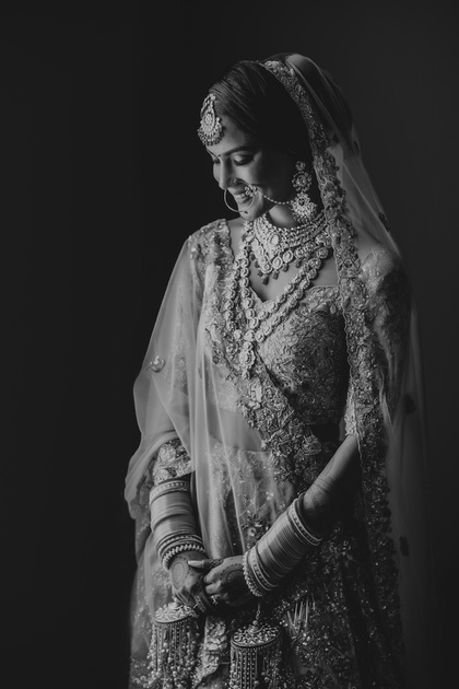 Black and white photo of the bride for an Indian Wedding