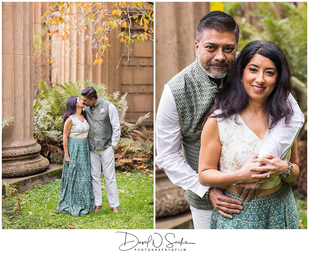 An Indian couple poses for photos at the Palace of Fine Arts.