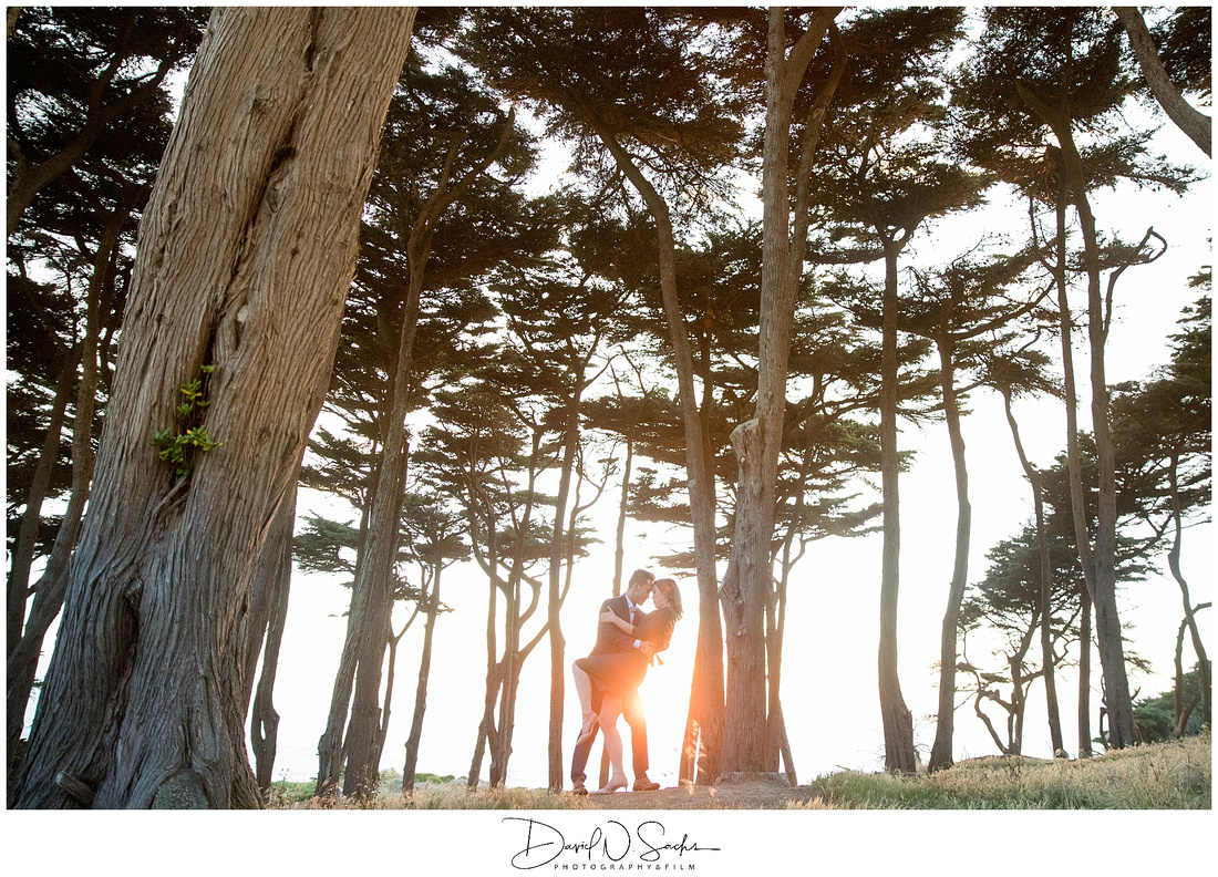 Formal Engagement Session at Sunset Golden Hour at Land's End Lookout in San Francisco California