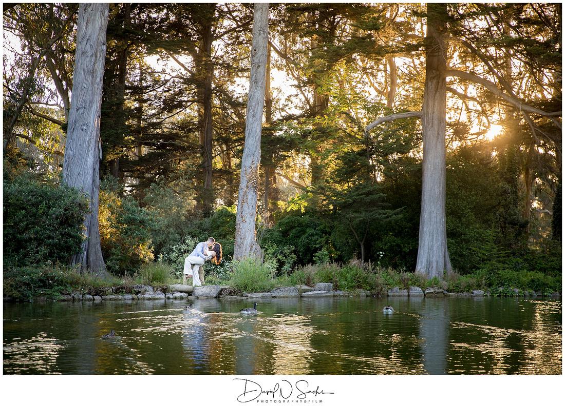 Sunset Engagement Photos at Stow Lake in San Francisco