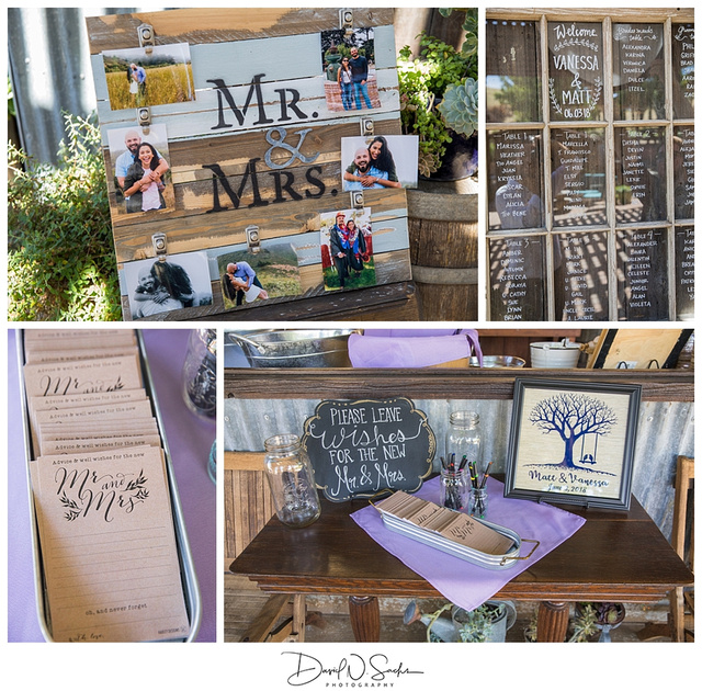 Beautiful wedding details and decor at taber ranch event center in capay, california