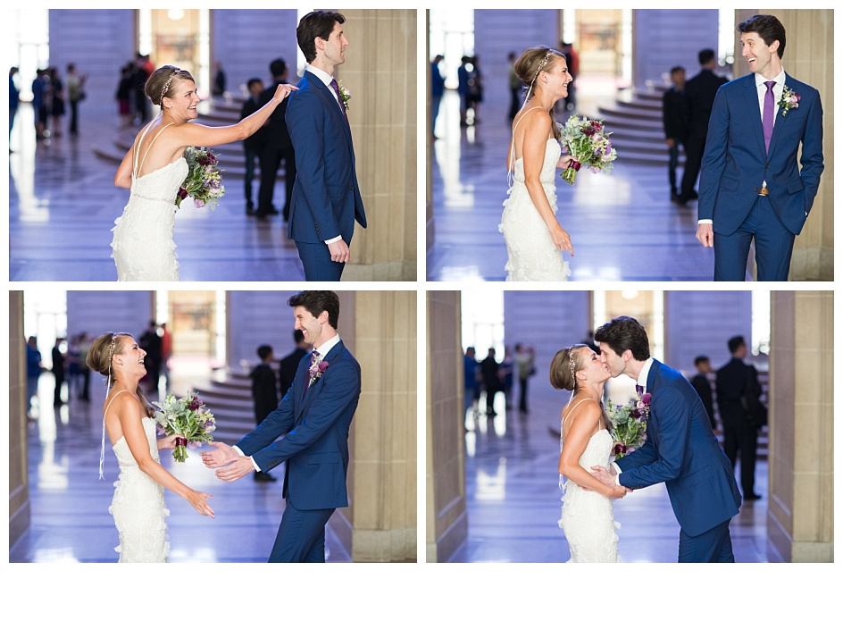 Four frames of a bride sneaking up on her groom before their wedding ceremony first look.