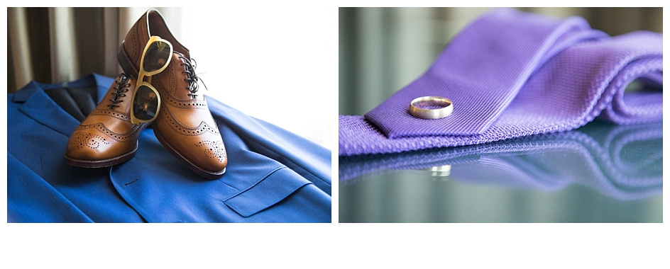 Photos show the groom's jacket, shoes, sunglasses, tie, and wedding band.