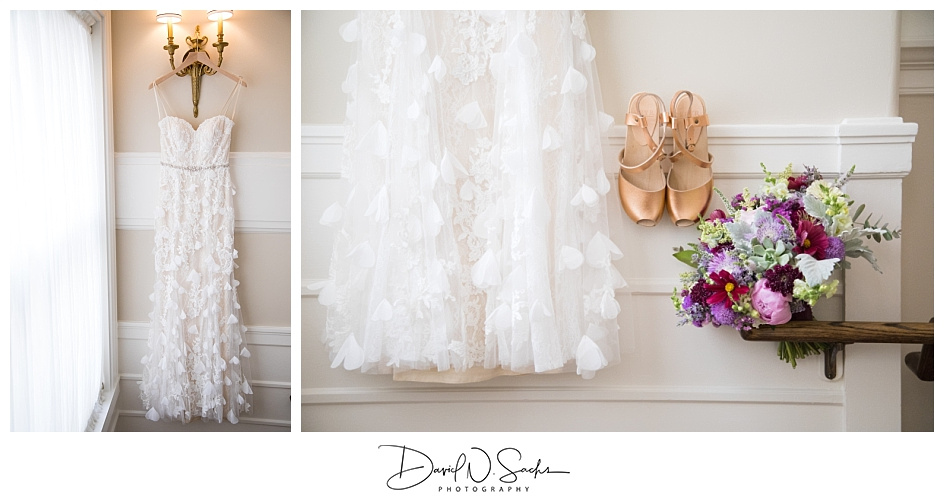 Two photos of a white wedding dress and bridal shoes and flowers in a hotel window.