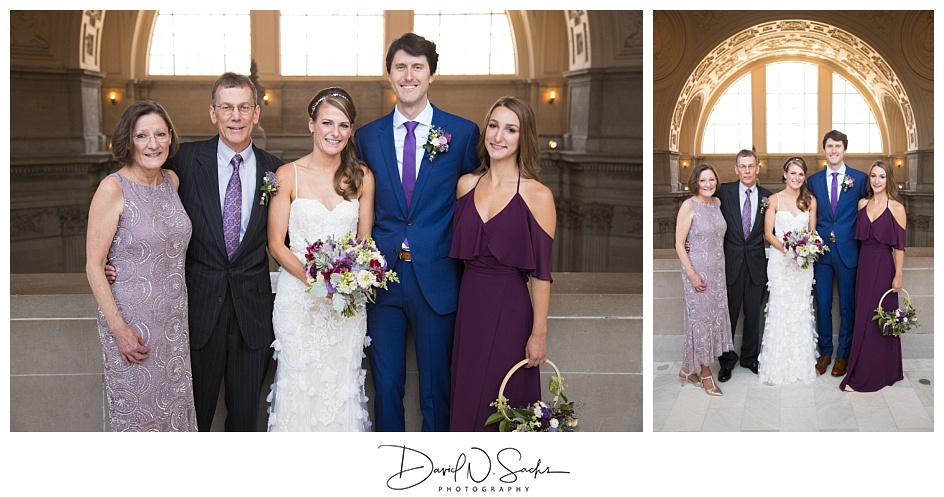 Two photos show a family in their formal photos at San Francisco City Hall.