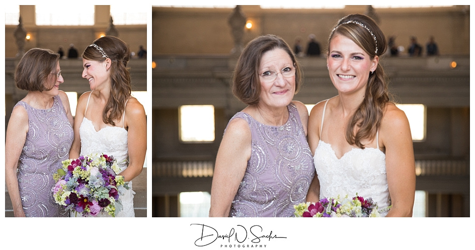 Two photos of a bride and her mother in formal photos after her San Francisco City Hall wedding ceremony.