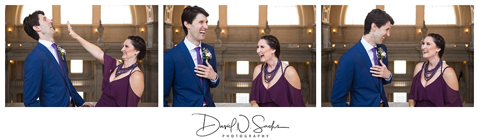 A groom and his sister laugh and joke during formal photos after their San Francisco City Hall wedding ceremony.