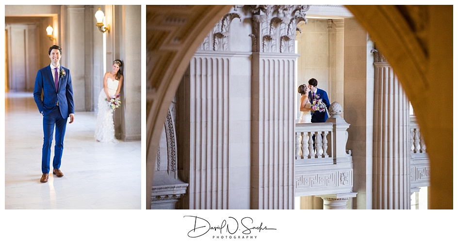 A groom stands solo while his bride looks on and the couples kisses on a balcony at SF city hall.