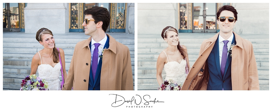 Two photos of a bride smiling at her groom in the steps of SF City Hall.
