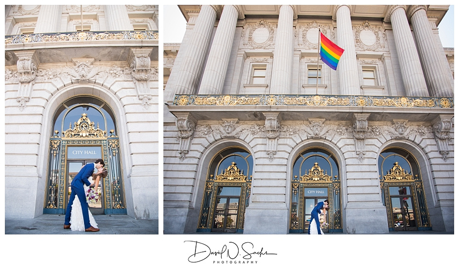 A couples is seen kissing and dipping outside of San Francisco City Hall after getting married.