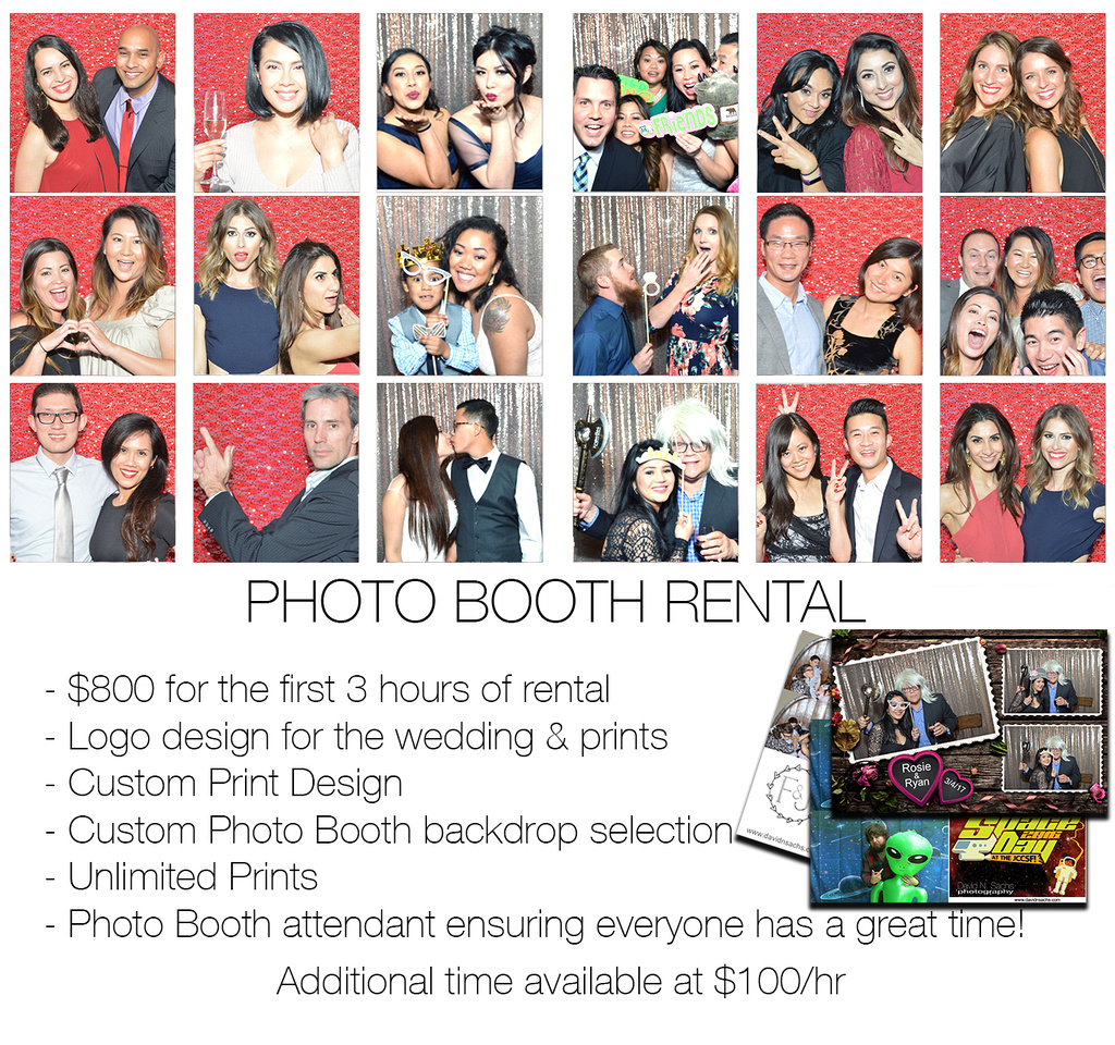 Photo Booth Rental for $800. Include 3 hours of rental, logo desin for the wedding & prints, custom print design, custom photo booth backdrop selection, unlimited prints, and a photo booth attendant ensuring everyone has a great time! Additional time available at $100/hr